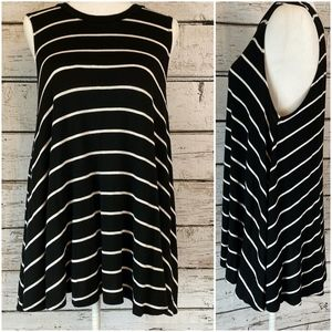 Jolie Black and White High Neck Stripped Tank Top
